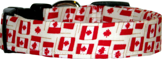 Mini Canadian Flags Dog Collar