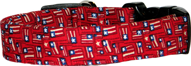 Mini American Flags Red Dog Collar