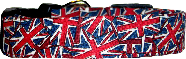 Union Jack British Flag Collage Dog Collar