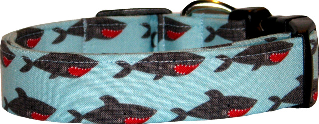 Fierce Sharks Light Blue Dog Collar