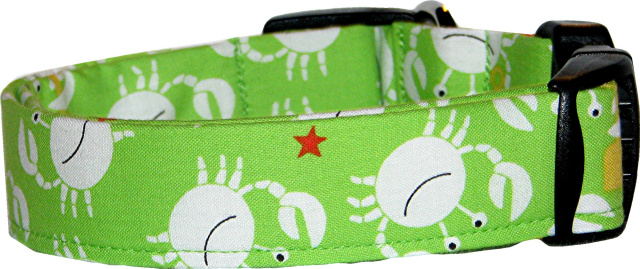 Little Crabs on Lime Dog Collar