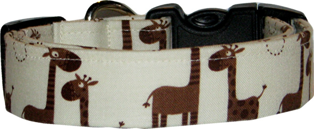 Little Giraffes on Cream Dog Collar