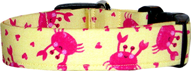 Yellow & Pink Crabs Dog Collar