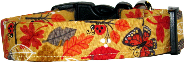 Autumn Leaves and Critters Handmade Dog Collar