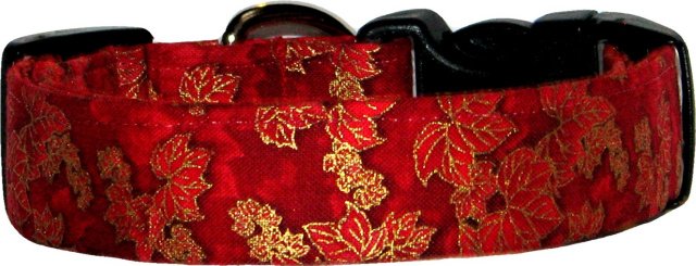 Metallic Maple Leaves on Red Dog Collar