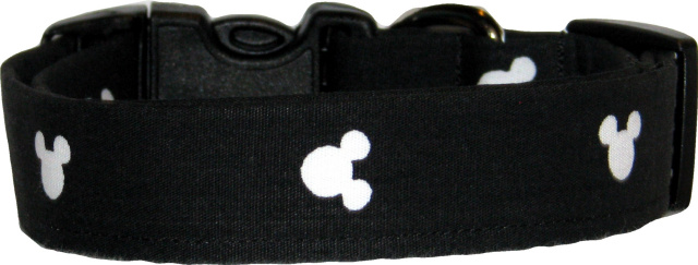 Black & White Mickey Mouse Twill Dog Collar