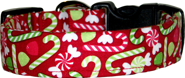 Red Christmas Candy Handmade Dog Collar