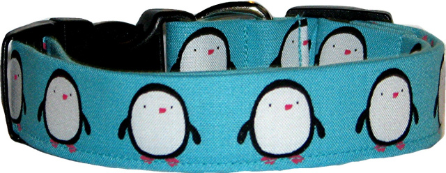 Fat Penguins Aqua Dog Collar