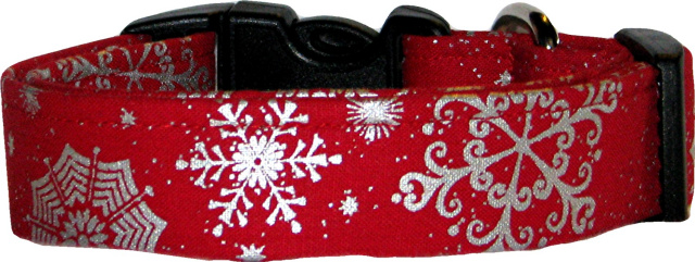 Big Silver Snowflakes on Red Handmade Dog Collar