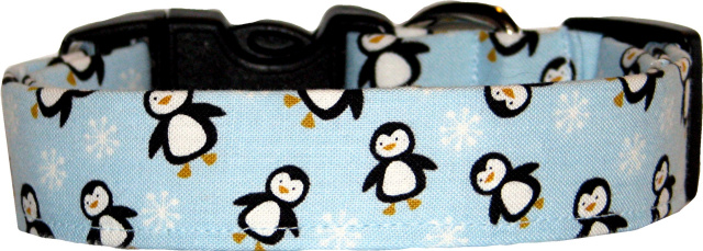 Mini Fat Penguins Blue Dog Collar