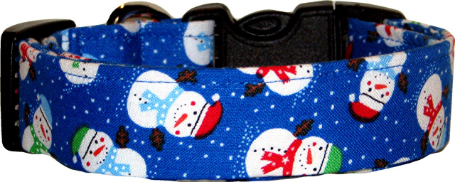 Fat Mini Snowmen Royal Blue Handmade Dog Collar