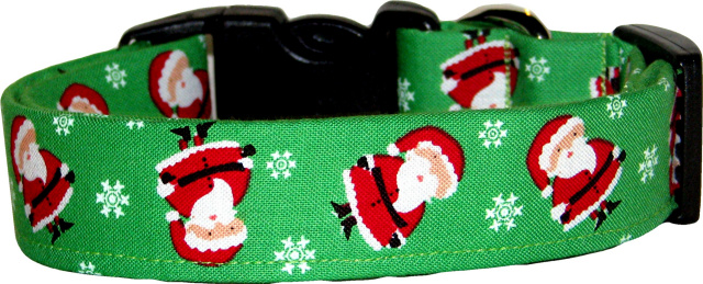 Mini Santa Claus on Green Handmade Dog Collar