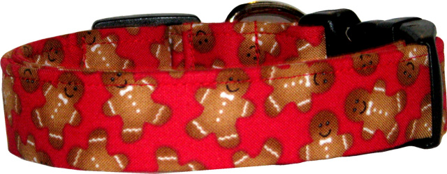 Red Gingerbread Man Handmade Dog Collar