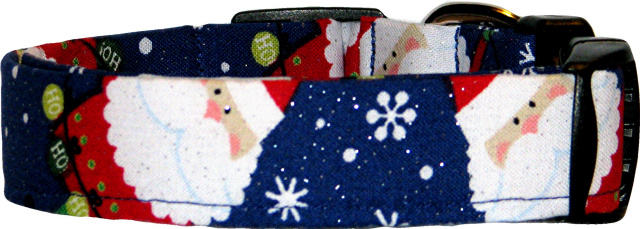 Big Santa Claus on Blue Dog Collar