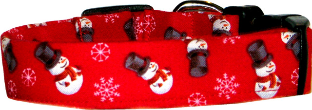 Little Top Hat Snowmen Red Dog Collar