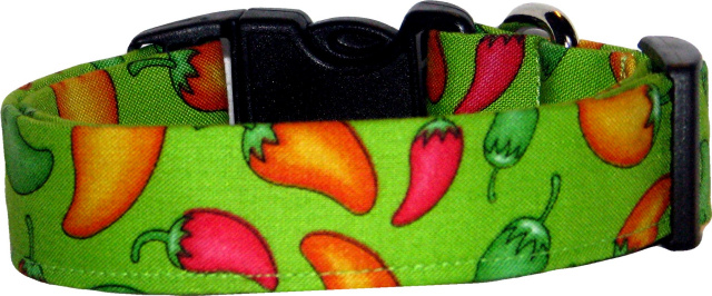 Vibrant Lime Chili Peppers Handmade Dog Collar