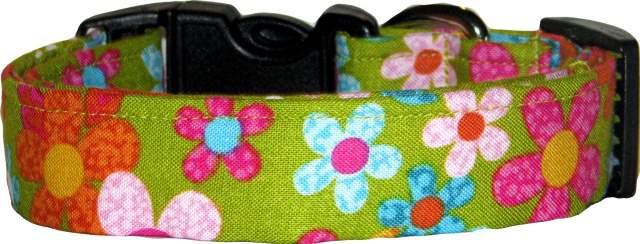 Vibrant Daisies on Green Handmade Dog Collar