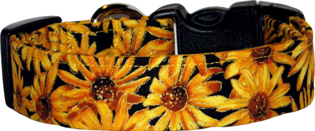 Metallic Sunflowers Black Dog Collar
