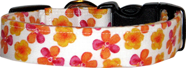 Bright Watercolor Pansies on White Dog Collar