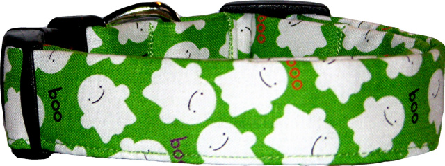 Little Lime Ghosts Handmade Dog Collar