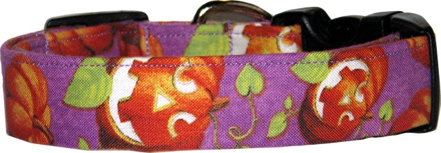 Vibrant Purple Jack O'Lanterns Dog Collar