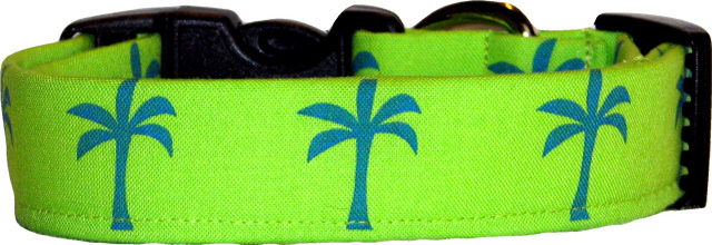 Lime Green & Blue Palm Trees Dog Collar