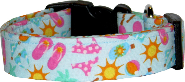 Flip Flops, Bikinis & Palm Trees Blue Dog Collar