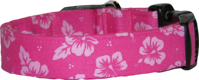 Pink on Pink Hibiscus Hawaiian Dog Collar