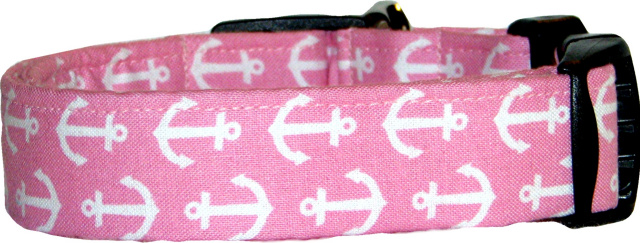 Pink & White Anchors Dog Collar