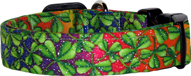 Glitter Rainbow & Shamrocks Handmade Dog Collar