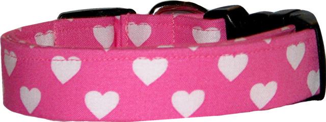 Bubble Gum Hearts Dog Collar