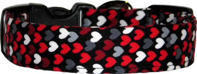 Mini Red White Gray Hearts Black Dog Collar
