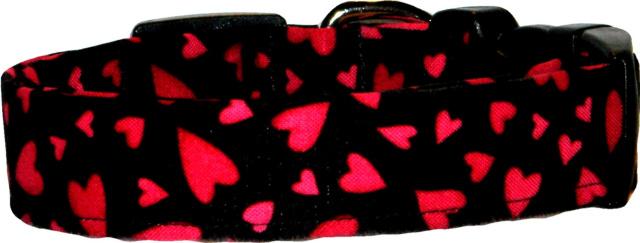 Vibrant Red & Black Hearts Dog Collar