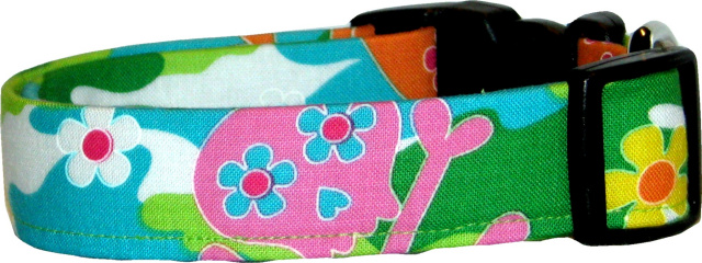 Vibrant Camo with Skulls Flowers Dog Collar