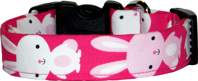 Big Bunnies Rabbits Hot Pink Dog Collar