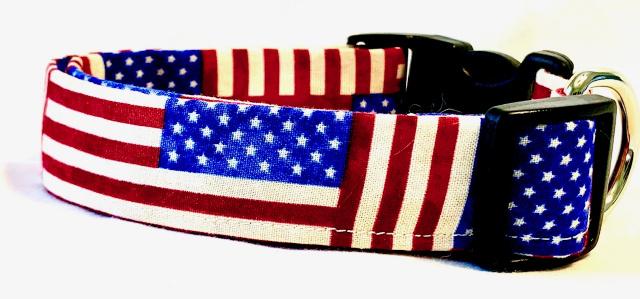 Vibrant Stars & Stripes American Flag Blocks Dog Collar