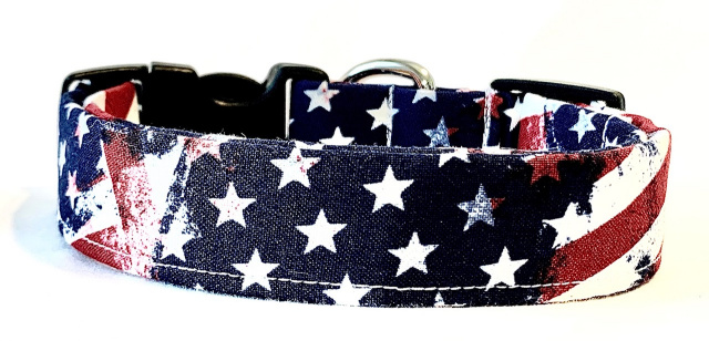 Painted American Flags Custom Dog Collar